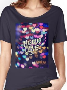 Hello Love Colorful Valentine Vintage Bokeh Heart Lights  Women's Relaxed Fit T-Shirt