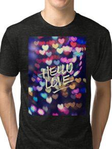 Hello Love Colorful Valentine Vintage Bokeh Heart Lights  Tri-blend T-Shirt
