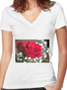 One red rose Women's Fitted V-Neck T-Shirt
