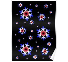 Red, White, and Blue Snowflakes Poster