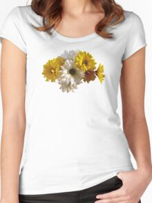White and Yellow Daisies Women's Fitted Scoop T-Shirt