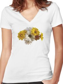 White and Yellow Daisies Women's Fitted V-Neck T-Shirt