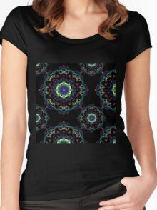Abstract mandala-pattern on the black background Women's Fitted Scoop T-Shirt