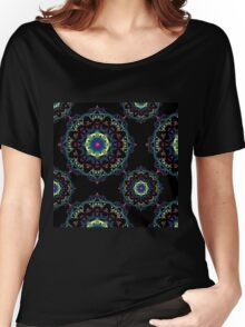 Abstract mandala-pattern on the black background Women's Relaxed Fit T-Shirt