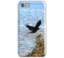 Crow Flying Over Lake iPhone Case/Skin