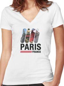 Paris, France Women's Fitted V-Neck T-Shirt