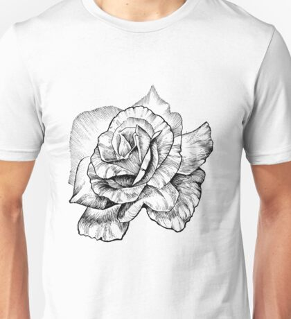 black ink rose Unisex T-Shirt