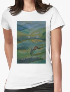 Shades of Tuscany Green Womens Fitted T-Shirt