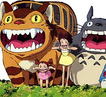 Catbus and Totoro by icedbobaa