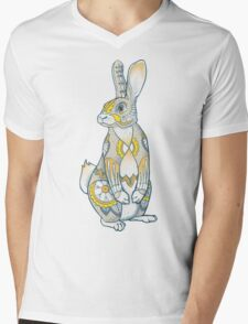 Mandala Bunny Mens V-Neck T-Shirt