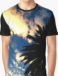 Palm Tree Silhouette - The Sun Behind The Clouds Graphic T-Shirt