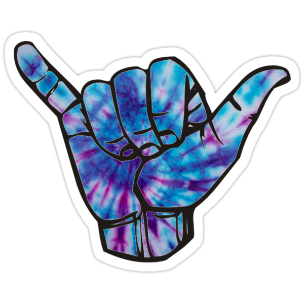 Quot Blue And Purple Tie Dye Shaka Quot Stickers By Amariei