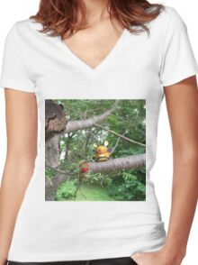 A Wild Dedenne Appears! Women's Fitted V-Neck T-Shirt