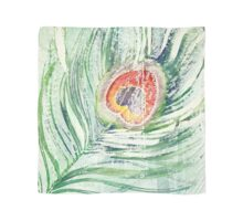Green and white peacock feather watercolor painting Scarf