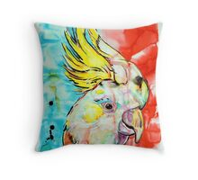 Red and Blue Cockatoo Throw Pillow