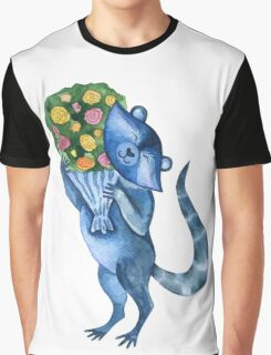 Cute funny raccoon with bouquet of flowers. Animal character. St. Valentine illustration. Graphic T-Shirt