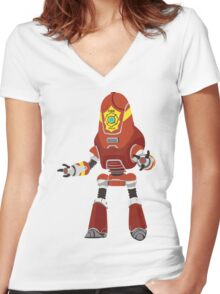 PROTECTRON: FIREMAN Women's Fitted V-Neck T-Shirt