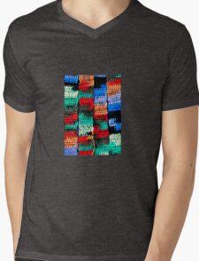 Crocheted Style Mens V-Neck T-Shirt