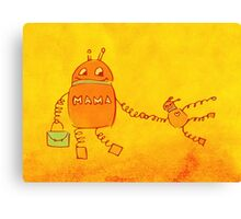 Robomama Robot Mother And Child Canvas Print