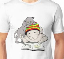 Telling stories kid and cat Unisex T-Shirt