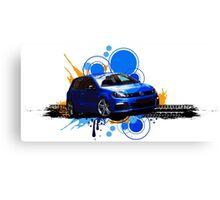 VW Golf R - Rising Blue Canvas Print