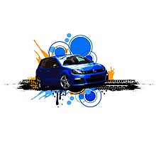 VW Golf R - Rising Blue Photographic Print