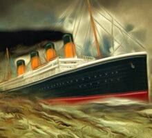 A digital painting of RMS Titanic, especially for Woodie Sticker