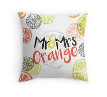 Mr and Mrs Orange Throw Pillow