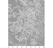 Jerusalem map grey Photographic Print