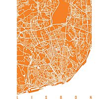 Lisbon map orange Photographic Print