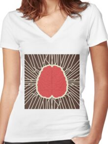 abstract brain design Women's Fitted V-Neck T-Shirt