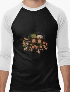 Cute owls (Spring)  Men's Baseball ¾ T-Shirt