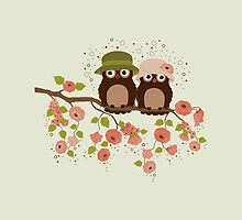 Cute owls (Spring)  by tosnos