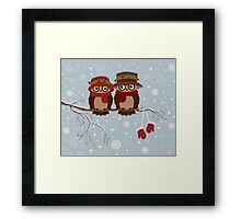 Cute owls (Winter) Framed Print