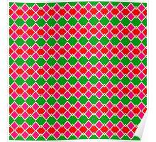 Red pink green rhombus pattern Poster