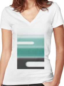 Green Abstract Women's Fitted V-Neck T-Shirt