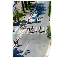 Pedestrian zebra across the street. Tilt shift view. Nice, France Poster