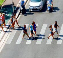Pedestrian zebra across the street. Tilt shift view. Nice, France Sticker