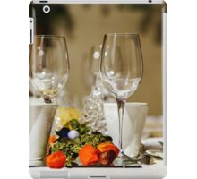 Wineglasses ready for the dinner in little restaurant, France iPad Case/Skin