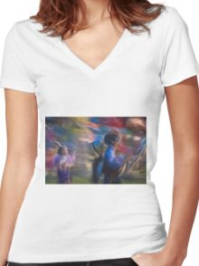 Impressionistic Pow Wow 1 Women's Fitted V-Neck T-Shirt