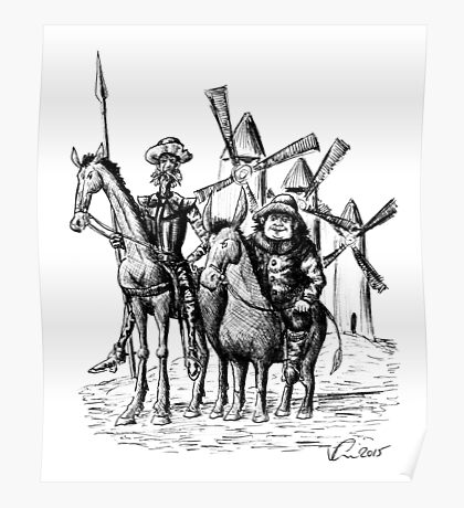 Don Quixote and Sancho Panza ink drawing Poster