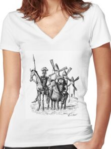 Don Quixote and Sancho Panza ink drawing Women's Fitted V-Neck T-Shirt
