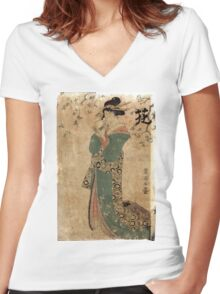 Flower - Toyokuni Utagawa - c1805 - woodcut Women's Fitted V-Neck T-Shirt