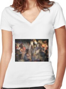 Impressionistic Pow Wow 6 Women's Fitted V-Neck T-Shirt