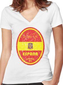 Euro 2016 Football - Espana Women's Fitted V-Neck T-Shirt
