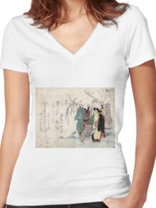 Four Cottonballs Blooming On A Willow - anon - 1814 - woodcut Women's Fitted V-Neck T-Shirt