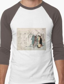 Four Cottonballs Blooming On A Willow - anon - 1814 - woodcut Men's Baseball ¾ T-Shirt