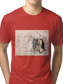 Four Cottonballs Blooming On A Willow - anon - 1814 - woodcut Tri-blend T-Shirt