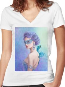 Fantasy winter woman, beautiful snow queen in mask with blue dragon Women's Fitted V-Neck T-Shirt
