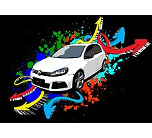 VW Golf R - Arrows paint splatter color Photographic Print